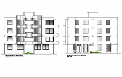 Elevation with different axis view for apartment building dwg file