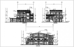 Elevation with different axis view for house building dwg file