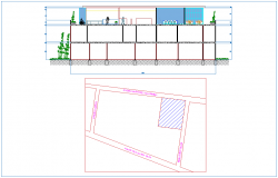 Elevation with site plan of office building design dwg file