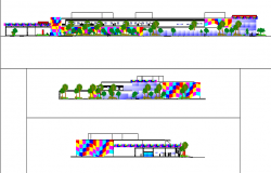 Elevation with tree view of children hospital dwg file