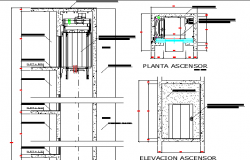 Elevator construction details of building dwg file