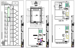 Elevator installation and staircase details of building dwg file