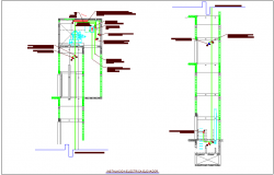 Elevator view with electrical connection dwg file