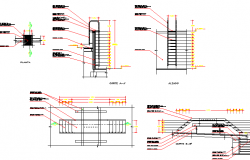 Elevators and staircase sectional details of shopping center dwg file