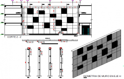 Empresarial center isometric view of wall on axis details dwg file