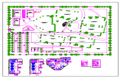 Engineering college campus landscaping and plan details dwg file