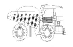 Engineering vehicle side elevation cad drawing details dwg file