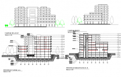 Environmental research center building elevation  of Indonesia government dwg file