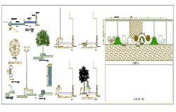 Equipment on side walk street lights planters details of garden dwg file