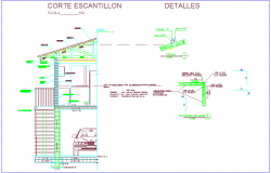 Escalation section view with wood and ceramic construction detail for residential area dwg file