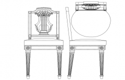 European style design of chair and table with its elevation and side view for furniture block dwg file