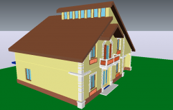 European type style of house design in 3d view dwg file