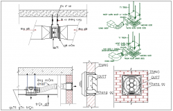 Exhaust fan connection detail and section view detail dwg file
