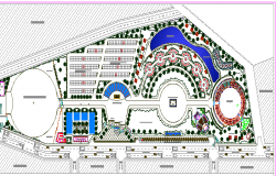 Exhibition center landscaping details with structure dwg file