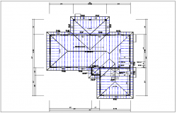 Existing structure roof plan with foundation plan layout view in  detail dwg file