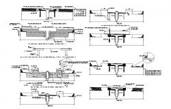 Expansion joints and wall construction cad drawing details dwg file