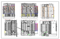 Exterior Elevation of building with 9 floors dwg file