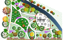 Restaurant Garden Landscaping design dwg file