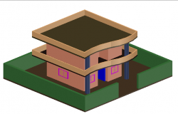 Exterior elevation of a ground plus one floored bungalow dwg file