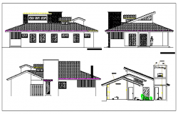Exterior elevation of a house dwg file