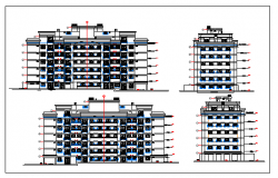 Exterior elevation of a residential building dwg file