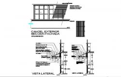 Exterior main section and constructive sectional details of house dwg file