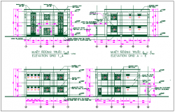 Exterior wall elevation view detail dwg file