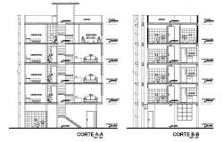 Facade and back sectional details of multi-story apartment building dwg file