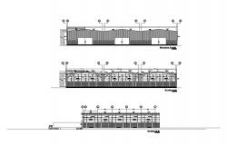 Facade elevation, section and side sectional details of commercial building dwg file