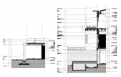 Facade section residential house plan detail dwg.
