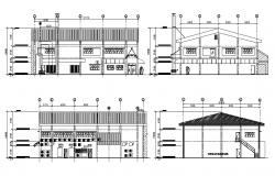 Facing and back elevation and section details of annex admin building dwg file