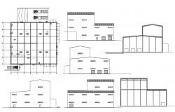 Factory Building Elevation design DWG File