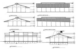Factory Warehouse design Layout Elevation and Section CAD drawing Download