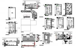 Factory building structure detail plan and section layout file in dwg format