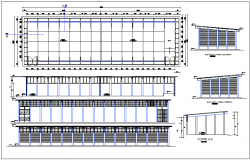 Factory structure plan detail view dwg file