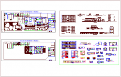 Faculty of architect collage plan & elevation with section detail dwg file