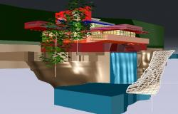 Falling water house by franklloydwrightin 3d