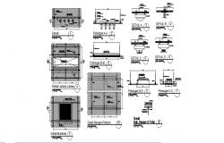 False ceiling and manhole constructive structure details dwg file