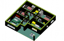 Family house 3 D plan layout file