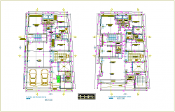 Family house first and second floor plan with door and window view dwg file