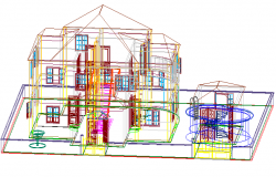 Family house in 3 d plan detail dwg file