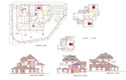 Family house plan and elevation autoacd file