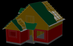 Family house two levels 3 D plan detail