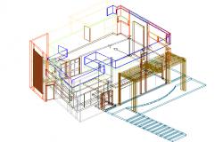 Family housing 3 D plan detail dwg file