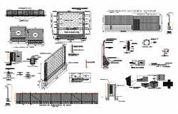 Fence elevation, section and construction cad drawing details dwg file