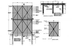 Fence section, plan, construction and installation details dwg file