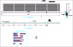 Fence view with wall view of structural detail view for education area dwg file
