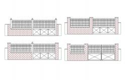 Fence within brick wall cad drawing details dwg file