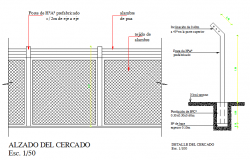 Fencing details around the garden dwg file