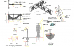 Fencing structure for boundary wall property detail view dwg file